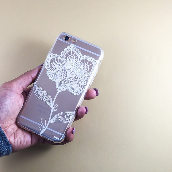 Flower Lace Henna - Clear TPU Case Cover - Milkyway Cases -  iPhone - Samsung - Clear Cut Silicone Phone Case Cover
