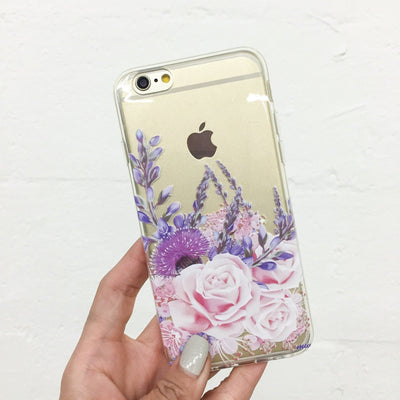 Purple Botanica - Clear TPU Case Cover - Milkyway Cases -  iPhone - Samsung - Clear Cut Silicone Phone Case Cover