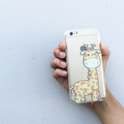 Cute Giraffe - Clear TPU Case Cover - Milkyway Cases -  iPhone - Samsung - Clear Cut Silicone Phone Case Cover