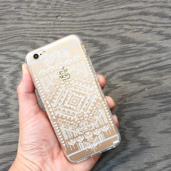 Henna Ethnic Ikat - Clear TPU Case Cover Milkyway iPhone Samsung Clear Cute Silicone 8 Plus 7 X Cover
