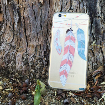 Colored Hanging Feathers - Clear TPU Case Cover - Milkyway Cases -  iPhone - Samsung - Clear Cut Silicone Phone Case Cover