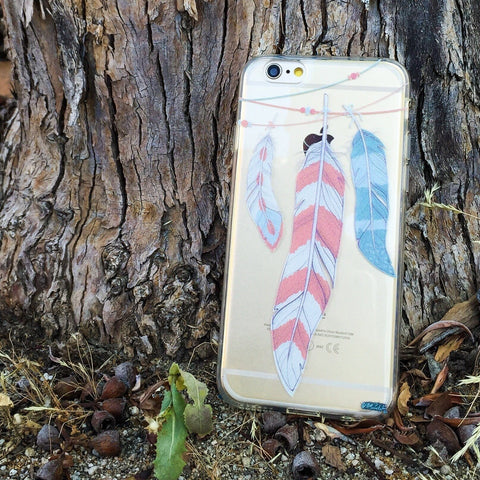 Colored Hanging Feathers - Clear TPU Case Cover