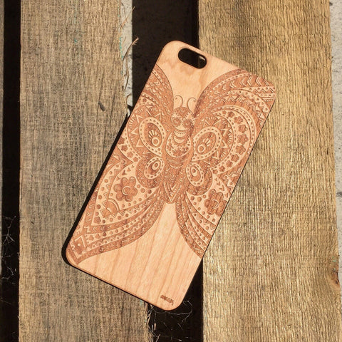 Genuine Wood Case - Butterfly Skull