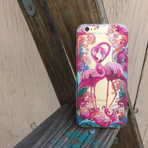 Flaming Flamingo - Clear TPU Case Cover
