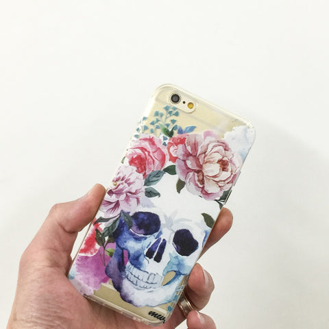 Colored Floral Skull - Clear TPU Case Cover