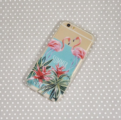 Summertime Flamingo - Clear TPU Case Cover - Milkyway Cases -  iPhone - Samsung - Clear Cut Silicone Phone Case Cover