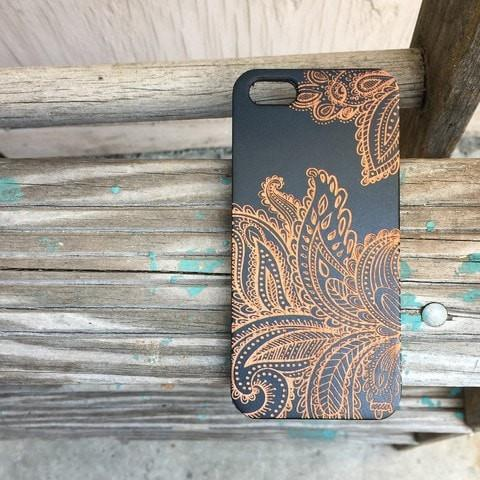 Black Bamboo Wood Case - Paisley