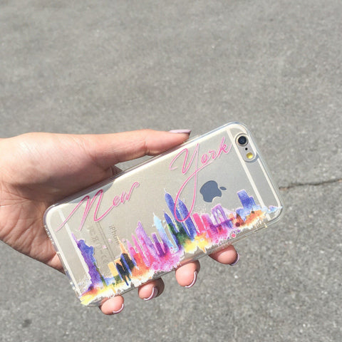 Watercolor New York - Clear TPU Case Cover