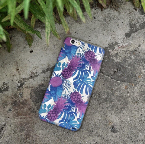 Purple Summertime Pineapple - Clear TPU Case Cover