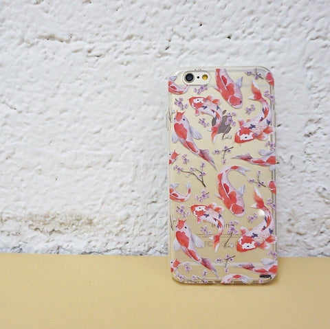 Watercolor Koi Fish - Clear TPU Case Cover