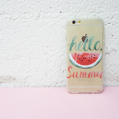Hello Summer Watermelon - Clear TPU Case Cover Milkyway iPhone Samsung Clear Cute Silicone 8 Plus 7 X Cover