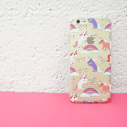 Rainbows and Unicorns - Clear TPU Case Cover
