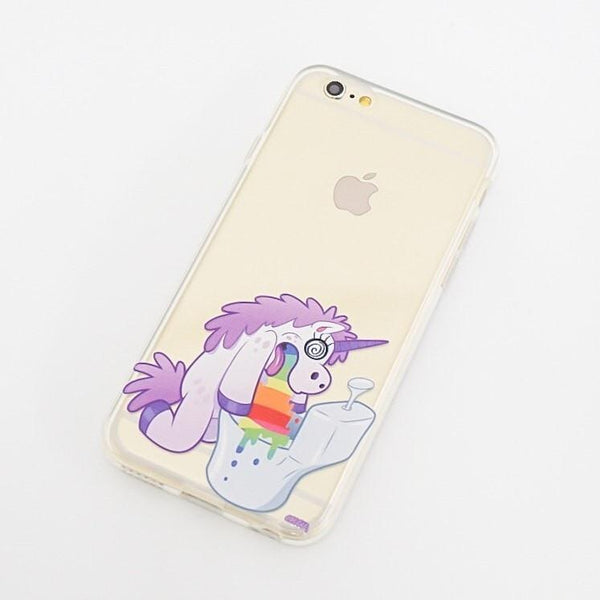 Hungover Unicorn - Clear TPU Case Cover Milkyway iPhone Samsung Clear Cute Silicone 8 Plus 7 X Cover