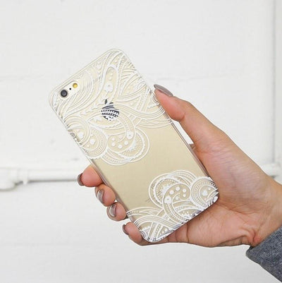 Hazel Henna Paisley - Clear TPU Case Cover Milkyway iPhone Samsung Clear Cute Silicone 8 Plus 7 X Cover
