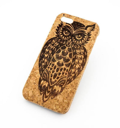 Cork Case Snap On Cover - TRIBAL OWL - Milkyway Cases -  iPhone - Samsung - Clear Cut Silicone Phone Case Cover