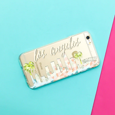 Geometric Los Angeles Skyline - Clear TPU Case Cover