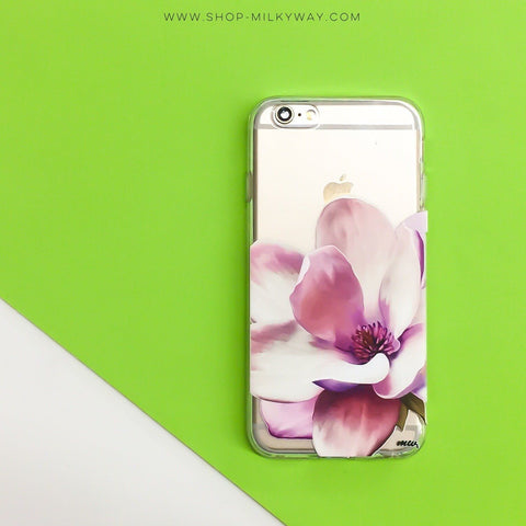 Watercolor Magnolia - Clear TPU Case Cover