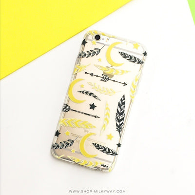 Feathers, Moon, Stars, Florals and Tribals - Clear TPU Case Cover - Milkyway Cases -  iPhone - Samsung - Clear Cut Silicone Phone Case Cover