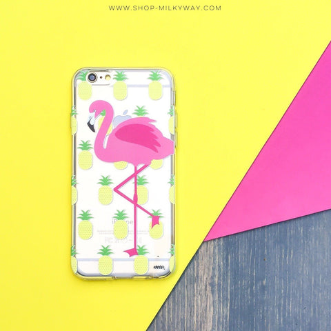Pineapples and a Flamingo - Clear TPU Case Cover