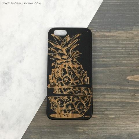 Black Bamboo Wood Case - Sliced Pineapple
