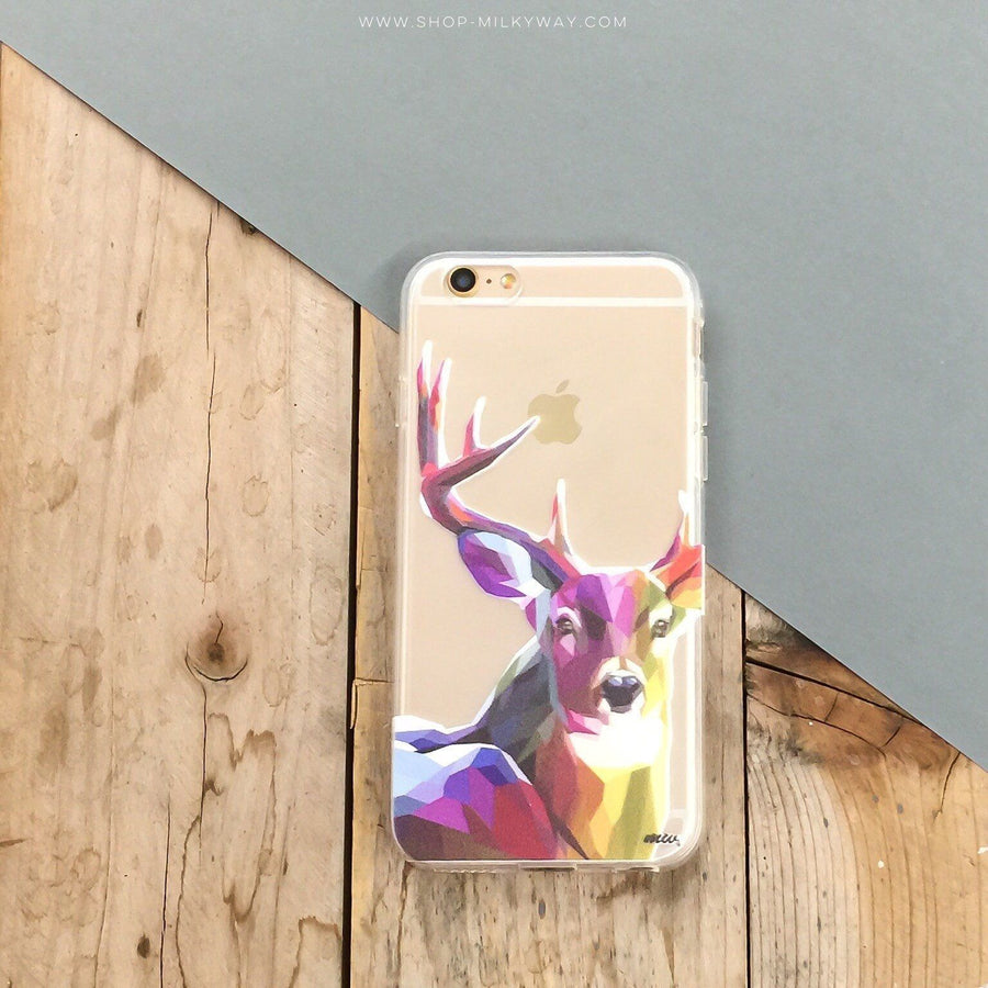 Geometric Deer - Clear TPU Case Cover - Milkyway Cases -  iPhone - Samsung - Clear Cut Silicone Phone Case Cover