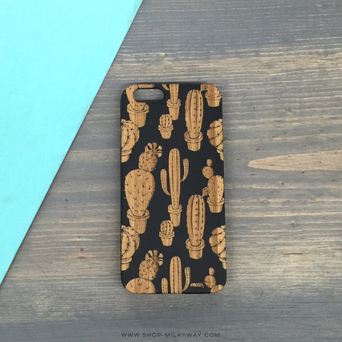GENUINE WOOD Organic Snap On Case  - Cactus Overload