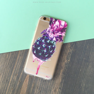 Dripping Pineapple - Clear TPU Case Cover - Milkyway Cases -  iPhone - Samsung - Clear Cut Silicone Phone Case Cover