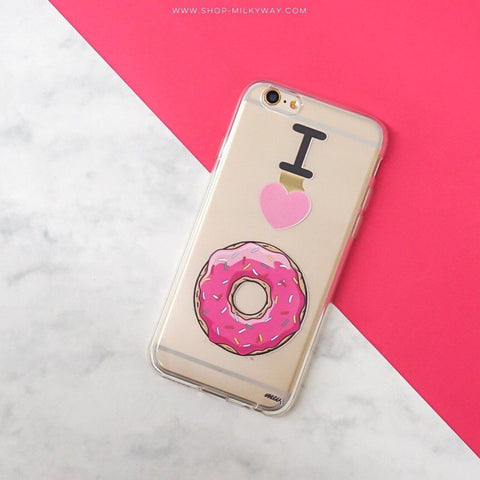 I Love Donuts - Clear TPU Case Cover