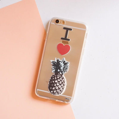 I Love Pineapples - Clear TPU Case Cover - Milkyway Cases -  iPhone - Samsung - Clear Cut Silicone Phone Case Cover