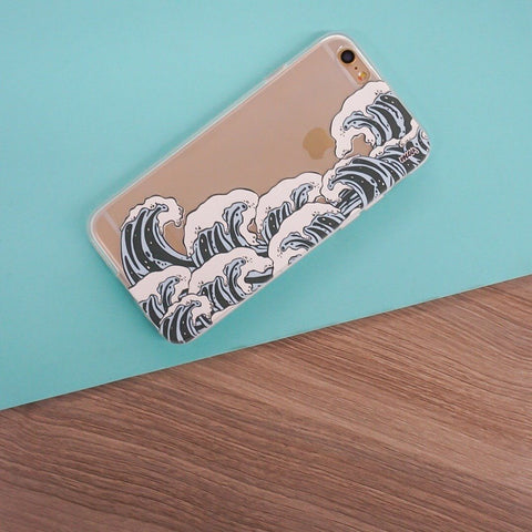 Full Great Wave Off Kanagawa - Clear TPU Case Cover