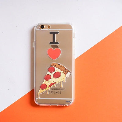 I Love Pizza - Clear TPU Case Cover - Milkyway Cases -  iPhone - Samsung - Clear Cut Silicone Phone Case Cover