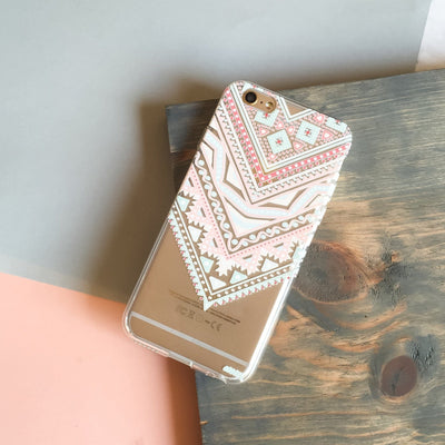 Pastel Aztec Triangle - Clear TPU Case Cover - Milkyway Cases -  iPhone - Samsung - Clear Cut Silicone Phone Case Cover