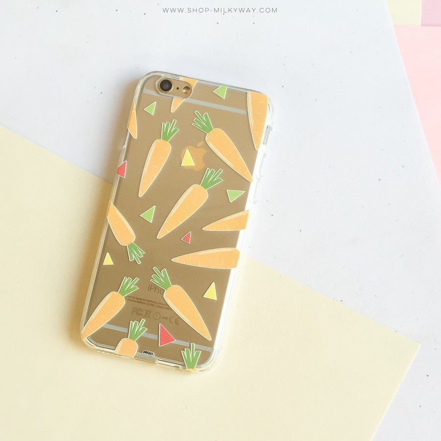 Carrots - Clear TPU Case Cover - Milkyway Cases -  iPhone - Samsung - Clear Cut Silicone Phone Case Cover