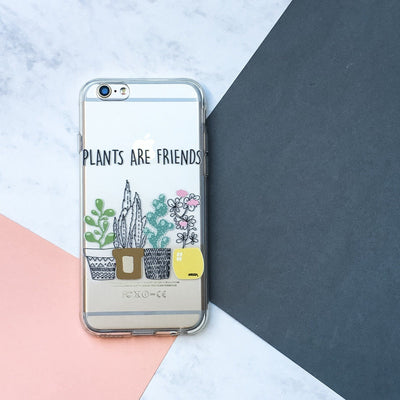 Plants Are Friends - Clear TPU Case Cover - Milkyway Cases -  iPhone - Samsung - Clear Cut Silicone Phone Case Cover