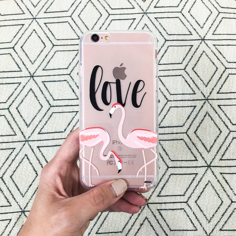 Flamingo Love - Clear TPU Case Cover