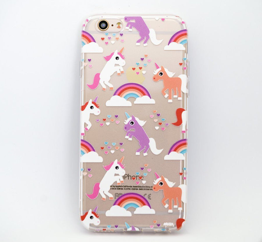 """CLEARANCE"" iPhone 6 Clear Case Cover - Rainbows and Unicorns"