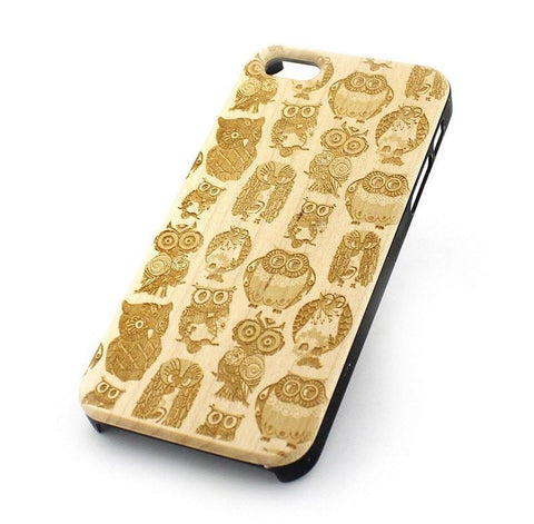 Wood Case for APPLE IPHONE 5 5S Cover OWL OVERLOAD