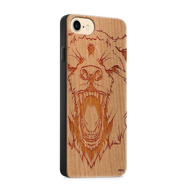 Wood  - Roaring Bear - Milkyway Cases -  iPhone - Samsung - Clear Cute Silicone Phone Case Cover