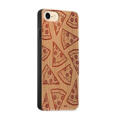 Wood  - Pizza - Milkyway Cases -  iPhone - Samsung - Clear Cute Silicone Phone Case Cover