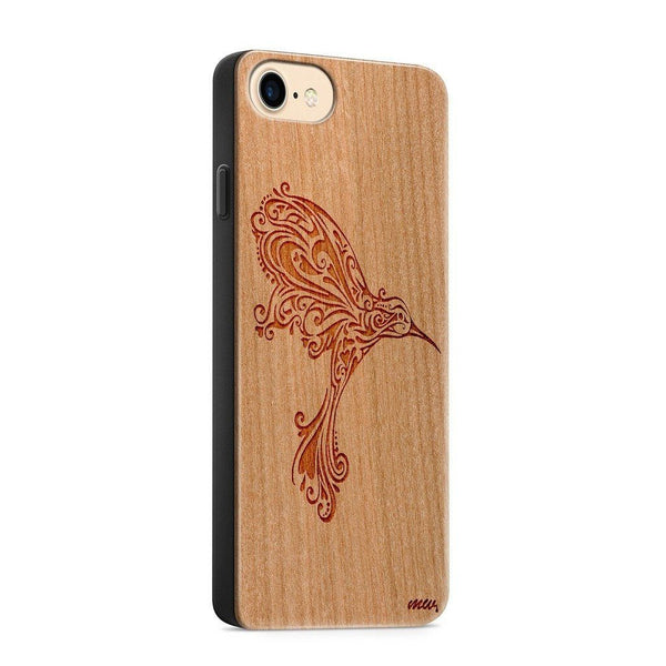 Wood  - Hummingbird - Milkyway Cases -  iPhone - Samsung - Clear Cute Silicone Phone Case Cover