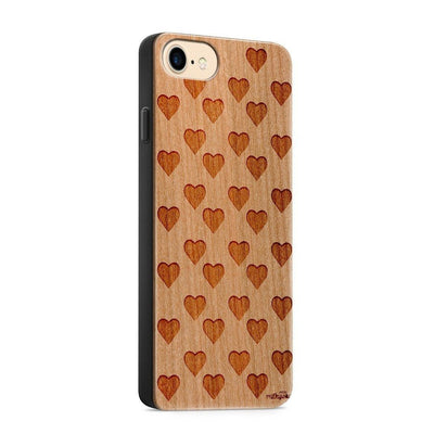 Wood  - Mini Hearts - Milkyway Cases -  iPhone - Samsung - Clear Cute Silicone Phone Case Cover
