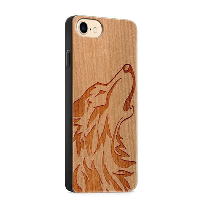 Wood  - Howling Wolf - Milkyway Cases -  iPhone - Samsung - Clear Cute Silicone Phone Case Cover