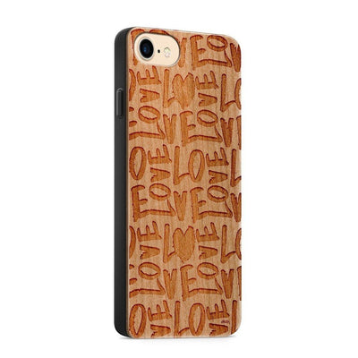Wood  - Love Love Love - Milkyway Cases -  iPhone - Samsung - Clear Cute Silicone Phone Case Cover