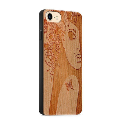 Wood  - Butterfly Girl - Milkyway Cases -  iPhone - Samsung - Clear Cute Silicone Phone Case Cover