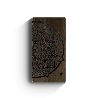 Walnut Power Bank Charger - Lotus Mandala - Milkyway Cases -  iPhone - Samsung - Clear Cut Silicone Phone Case Cover