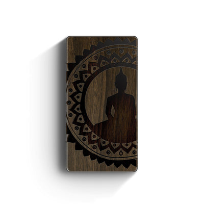 Walnut Power Bank Charger - Mandala Buddha - Milkyway Cases -  iPhone - Samsung - Clear Cut Silicone Phone Case Cover