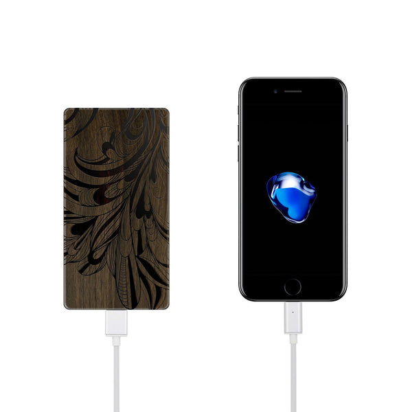 Walnut Power Bank Charger - La Fleur Peacock - Milkyway Cases -  iPhone - Samsung - Clear Cut Silicone Phone Case Cover