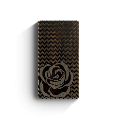 Walnut Power Bank Charger - Chevron Rose