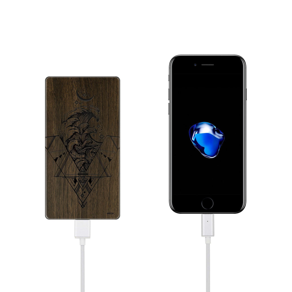 Walnut Power Bank Charger - Adventure