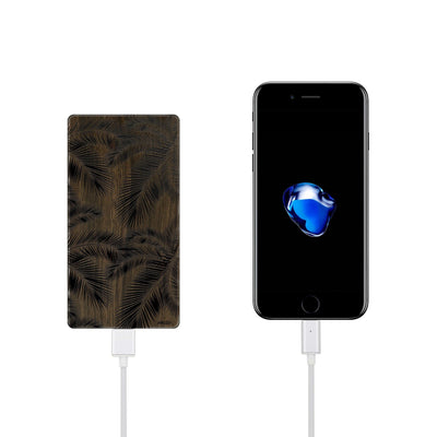 Walnut Power Bank Charger - Palm Leaves - Milkyway Cases -  iPhone - Samsung - Clear Cut Silicone Phone Case Cover